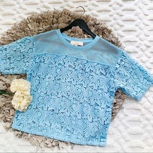 LOFT Lace Blossom Tee Top in Powder Blue